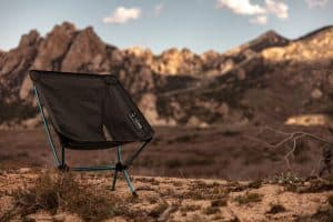 backpacking chair in the mountains